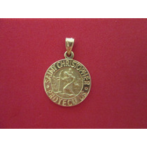 Medalla Saint Christopher En Oro Solido 14k.