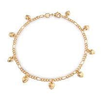 Pulsera Tobillo Bling Jewelry Cadena Figaro Chapa Oro Amule