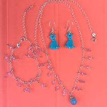 Collar + Pulsera Plata Ley Con Cristales Aretes Vestido