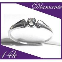 Promocion Diamante Natural Montado En Anillo 14k