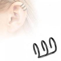 Ear Cuff Falso De Acero Inox Negro Diseño Conciencia Triple