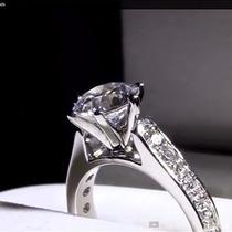 Anillo De Compromiso, Pave, Oro 14 Kilates Diamante 1.03ct