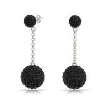 Aretes Bling Jewelry Gota Bola Disco Cristal Negro Plata