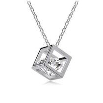 Cadena Y Dije Cubo Imitación Diamante Cristal Collar Cube