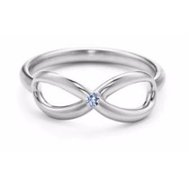Anillo Infinito Oro Blanco Laminado 24k Con Diamante Natural