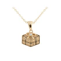 Colgante, Collar De Caja De Regalo Con Detalles De Diamantes