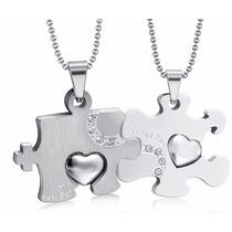 Collares Para Novios Rompecabezas Moderno Silver Amor Amigos