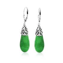 Pendientes Bling Jewelry Jade Gota Filigrana Cierre 925