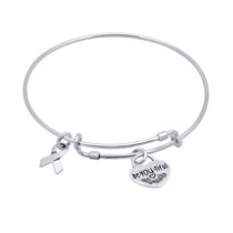 Bangle With Awareness Ribbon And Be.you.tiful Heart Charms