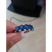 Hermoso Anillo En Zafiro Azul Oceano En Plata .925