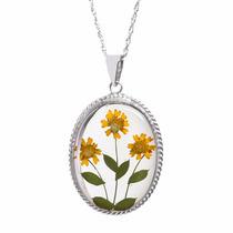 Collar Y Dije De Plata Flores Amarillas Naturales