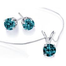 Collar De Diamantes Azul Y Aretes 1/2 Carat (ctw) En 14k Oro