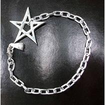 Pulsera De Metal Con Dije De Estrella Pentagrama En Plata925
