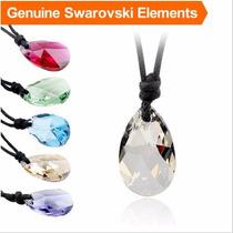 Collar Cuero + Dije Color Gris Original Swarovski Elements