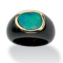 Azul Ópalo Cabochon Negro Jade 10k Oro Anillo-tamaño 6