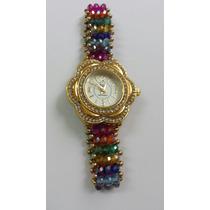 Reloj Con Cristal Y Chapa De Oro 18k