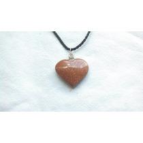 Corazón Piedra Venturina Roja Dije Collar Ome_artesanal
