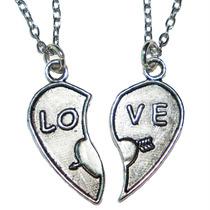 Collar Dije Corazón Partido Love Regalo Amor Novios Pareja