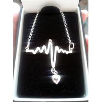 Dije Electrocardiograma De Plata (incluye Cadena)