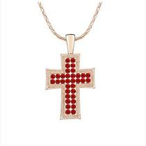 Colar De Cruz De Cristal Austríaco (vermelho)
