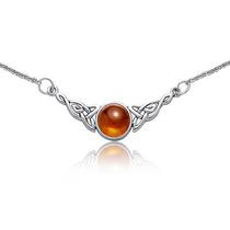 Bling Jewelry Celta Nudo Ámbar Plata Colgante Collar 18in