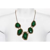 Collar Moda Verde Incrustaciones Piedras Verdes Biseladas