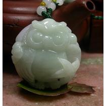 Dije De Jade Búho Verde Ligero Con Certificado