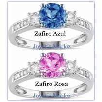 Anillo Con Zafiro Rosa O Azul 10kt Envio Gratis