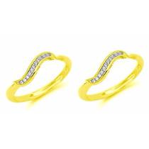Hermosas Arracadas Oro Laminado 14k Y 12 Diamantes Ruso