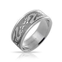 Bling Jewelry Anillo De Acero Para Hombre Del Dragón Tribal