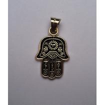 Poderoso Amuleto Mano De Hamsa O Fatima En Oro De 14 Kilates