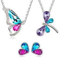 Regalo Collar Mariposa O Libélula + Aretes Swarovki Elements