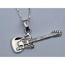 Dije De Guitarra Electrica En Plata Fina.925 Sterling Silver