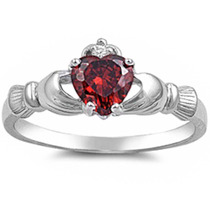 Anillo Plata Celta Rubi Diamante Amor Compromiso Cladagh