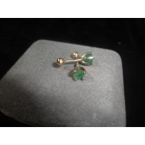 Aretes De Oro 10k Con Esmeraldas Tipo Broquel