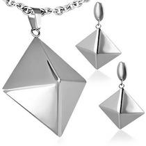 Set De Joyería Dije Y Aretes De Acero Diseño Pirámides