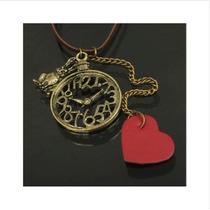 Collar De Reloj Moderno Con Colgantes Y Corazón