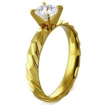 Anillo De Acero Diseño Compromiso Twist Queen Dorado