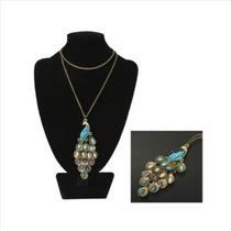 Elegante Collar Con Colgante De Pavo Real Con Cristales