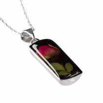 Collar Y Aretes De Plata Con Flores Naturales Miniatura