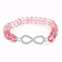 Pulsera Infinito Dama Con Zirconias Cristal Rosa Ajustable