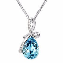 Dije Lagrima Azul Cristal Austriaco Pendiente Regalo Novia