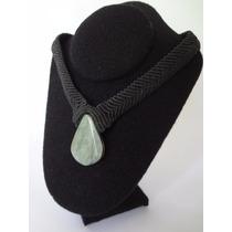 Collar De Macramé Y Jade Guatemalteco 100% Genuino.