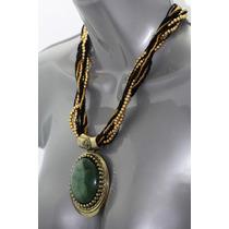 Collar Moda Juegos De Cadenas Dorada Y Colgante Piedra Verde