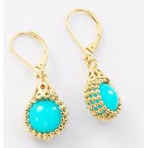 Aretes Pendientes Perla Turquesa - 4 Baños De Oro 18k