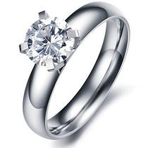 Anillo De Compromiso Con Diamante Lab. 316-l Acero Inox.