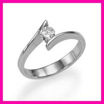 Anillos Comprmiso Diamante Natural .12ct Gh-vs