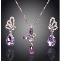 Dije Collar Aretes Mariposa Cristal Swarovski Elements Boda