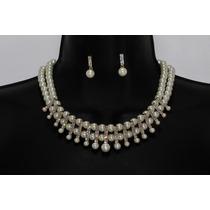 Conjunto Elegante Collar Dorado Perlas Y Cristales Ce16