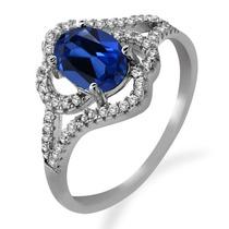 Anillo De Plata Esterlina 925 Con Zafiro Azul Fabricado De 2